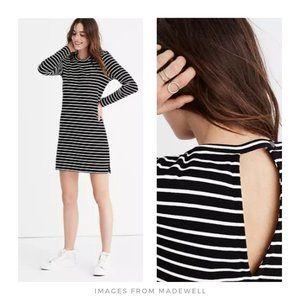 Madewell ▪ Striped Keyhole-Back Dress, Black/White